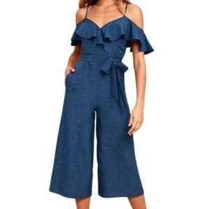 Lulu's Chambray Ruffle Off Shoulder Jumpsuit S